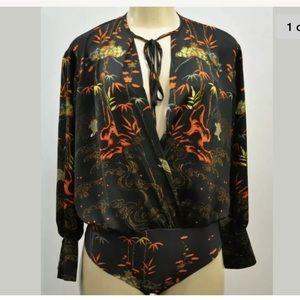 Zara Asian Inspired Print Silky Bodysuit